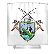 Fishing Rod Reel Blue Marlin Beer Bottle Coat Of Arms Drawing Shower Curtain