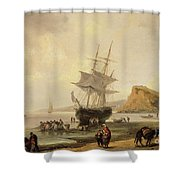 Fishing Scene, Teignmouth Beach And The Ness, 1831 Shower Curtain