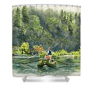 October Morning Fishing The Trinity River Shower Curtain