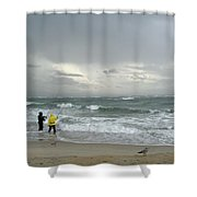 Fishing Through The Storm - Diamond Shoals Nc Shower Curtain