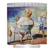 Fishing Together Shower Curtain