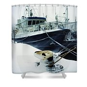 Fishing Trawler, Howth Harbour, Co Shower Curtain