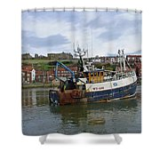 Fishing Trawler Wy 485 At Whitby Shower Curtain by Rod Johnson