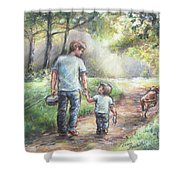 Fishing With My Dad  Shower Curtain by Laurie Shanholtzer