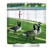 Fishing With The Geese Shower Curtain