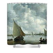Fishingboat In An Estuary Shower Curtain by Jan Josephsz van Goyen