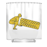 Fitness Athlete Squatting Lifting Tire Drawing Shower Curtain