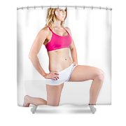 Fitness Woman Stretching Over White Shower Curtain