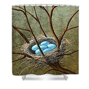 Five Blue Eggs Shower Curtain