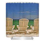 Five Chairs On The Beach Shower Curtain