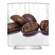 Five Coffee Beans Isolated On White Shower Curtain