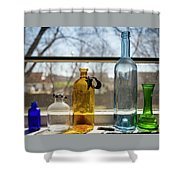 Five Colored Bottles Shower Curtain