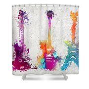 Five Colored Guitars Shower Curtain