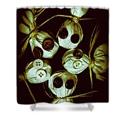 Five Halloween Dolls With Button Eyes Shower Curtain