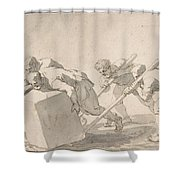 Five Men Pushing A Block Of Stone Shower Curtain