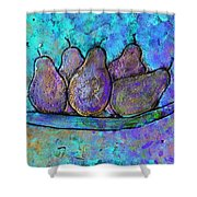 Five Pears On A Platter Shower Curtain