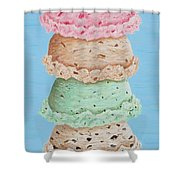 Five Scoop Ice Cream Cone Shower Curtain
