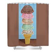 Five Scoop Ice Cream Cone Shower Curtain
