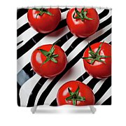 Five Tomatoes  Shower Curtain by Garry Gay