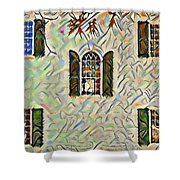 Five Windows Watercolor Shower Curtain
