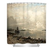 Fjord Landscape With Figures Shower Curtain