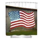 Flag And Barn - Painting Shower Curtain