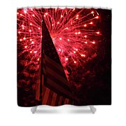 Flag And Fireworks Shower Curtain