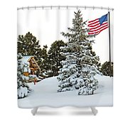 Flag And Snowy Pines Shower Curtain