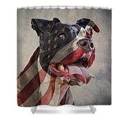Flag Dog Shower Curtain