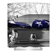 Flag For The Fallen - Selective Color Shower Curtain