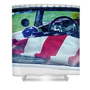 Flag In The  1955 Chevy Bel Air Shower Curtain