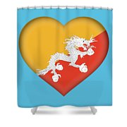 Flag Of Bhutan Heart Shower Curtain