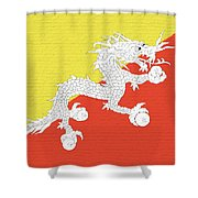 Flag Of Bhutan Wall Shower Curtain