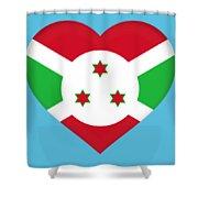 Flag Of Burundi Heart Shower Curtain