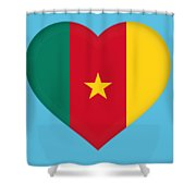 Flag Of Cameroon Heart Shower Curtain