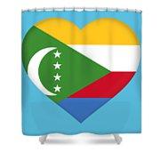 Flag Of  Comoros Heart Shower Curtain