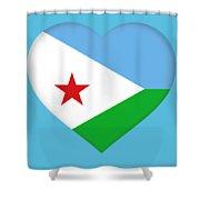 Flag Of Djibouti Heart Shower Curtain