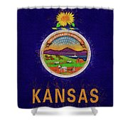 Flag Of Kansas Grunge Shower Curtain