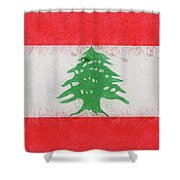 Flag Of Lebanon Grunge Shower Curtain