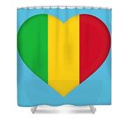 Flag Of  Mali Heart  Shower Curtain