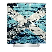 flag of Scotland painted on old brick wall Shower Curtain