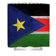 Flag Of  South Sudan Grunge Shower Curtain