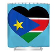 Flag Of  South Sudan Heart Shower Curtain