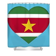 Flag Of Suriname Heart  Shower Curtain