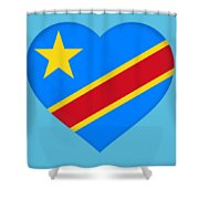 Flag Of The Congo Heart Shower Curtain