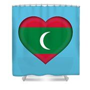 Flag Of The Maldives Heart Shower Curtain