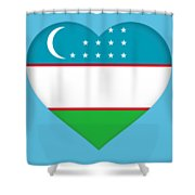 Flag Of Uzbekistan Heart Shower Curtain