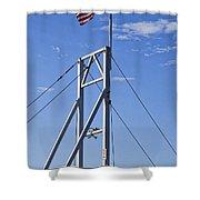 Flag On Perkins Cove Bridge - Maine Shower Curtain