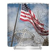Flag Over Spokane Pavilion Shower Curtain