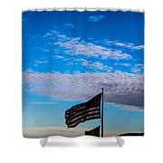 Flag With The Clouds Shower Curtain
